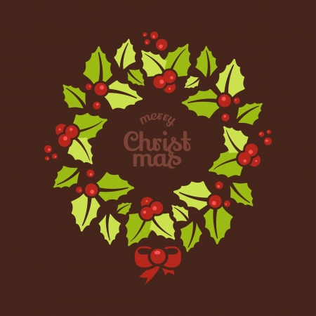 red door: Greeting card with a Christmas wreaths and Merry Christmas message