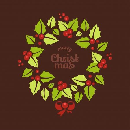 coronas de navidad: Tarjeta de felicitación con guirnaldas de Navidad y el mensaje de la Feliz Navidad Vectores
