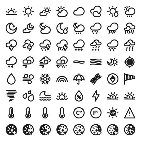 estado del tiempo: Conjunto de iconos planos sobre el tiempo Vectores