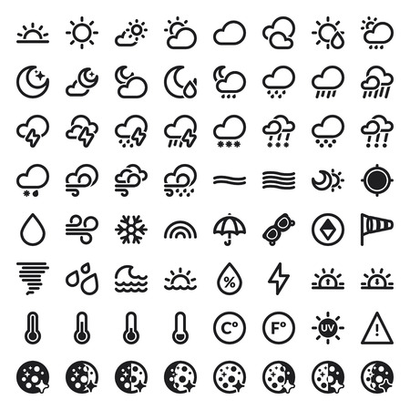 Set of flat icons about The Weather Illustration