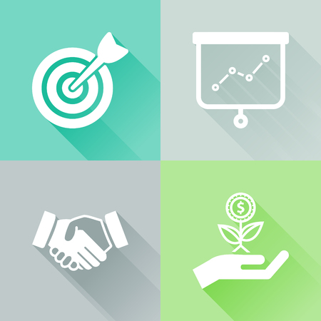 Set of colorful flat icons about success financial concept