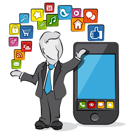 Cartoon of a businessman with apps for smartphone. Vector