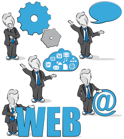 Cartoon of a businessman with internet concepts. Vector