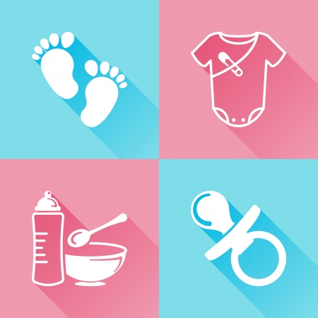 Set of colorful flat icons about baby goods