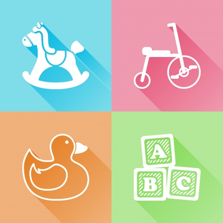 tricycle: Set of colorful flat icons about baby toys