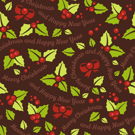 holly leaves: Seamless background with Merry Christmas and Happy New Year message and mistletoe