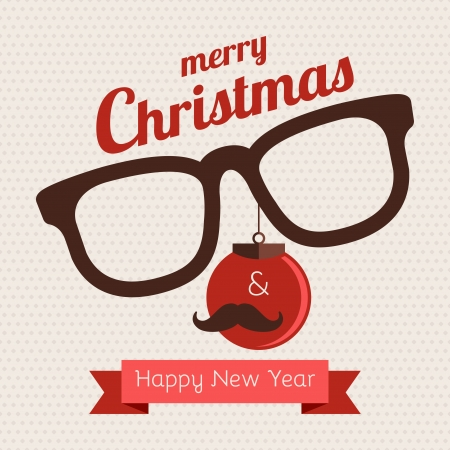 man with glasses: Greeting card about Christmas and New Year Hipster style