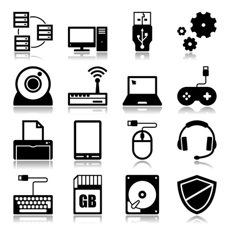 hard disk drive: Set of icons with reflection about computer and technology concept