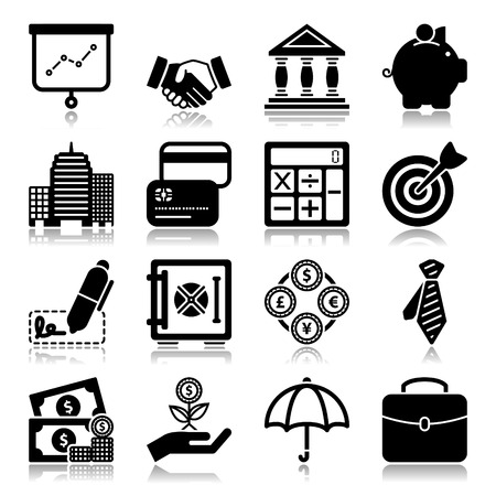 Set of icons with reflection about finance concept Çizim