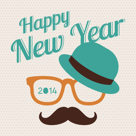 Greeting card about New Year Hipster style