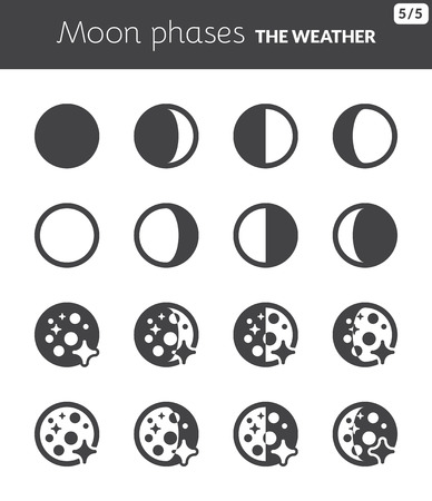 Black icons about the weather  Moon phases  イラスト・ベクター素材