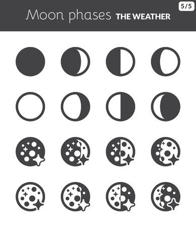 Iconos negros sobre las fases de la Luna tiempo Ilustración de vector