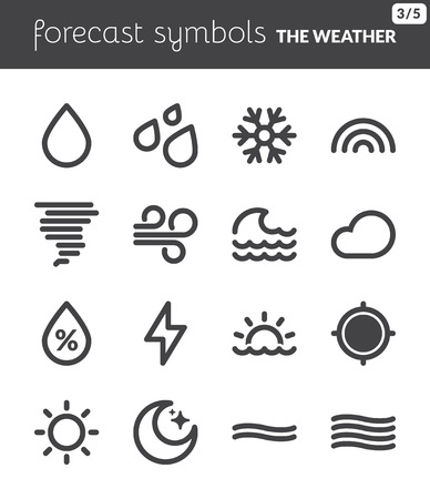 Black icons about the weather  Forecast symbols 1