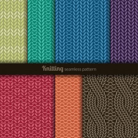 Set of seven seamless patterns  Knitting style