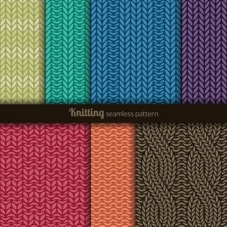Set of seven seamless patterns  Knitting style Vector