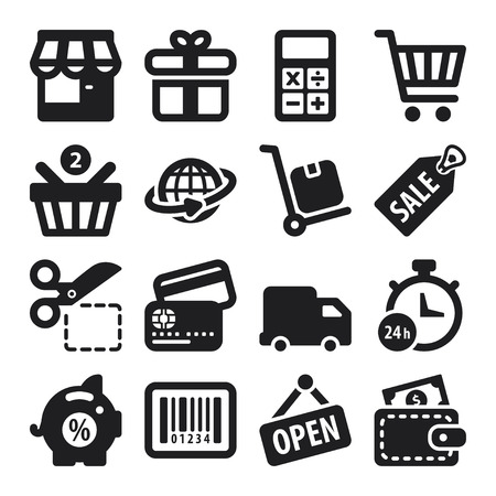 Set of black flat icons about shopping