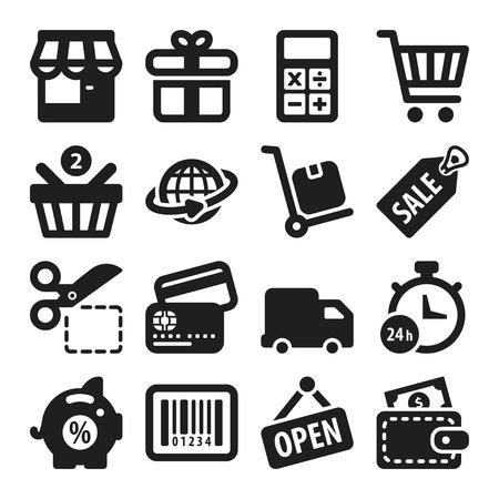 Set van zwarte platte iconen over winkelen Stockfoto - 23269338