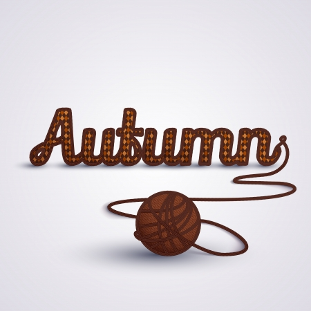 yarns: Background about Autumn concept  Autumn word made in knit  Argyle background