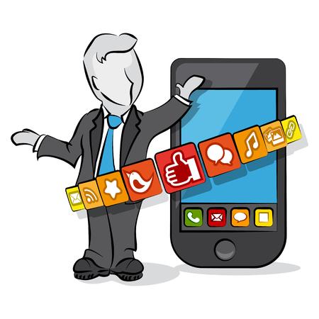 mobile cartoon: Cartoon businessman with smartphone  Social media concept  Illustration
