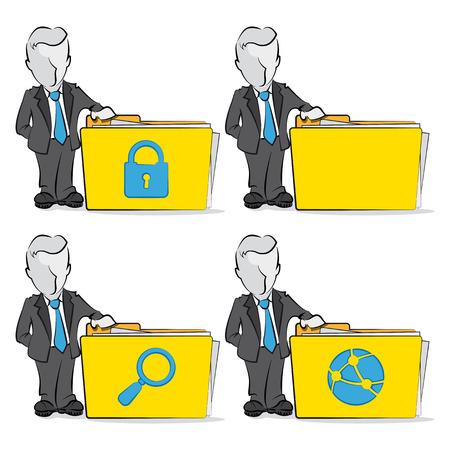 repository: Cartoon of a businessman with folder  Computing concept