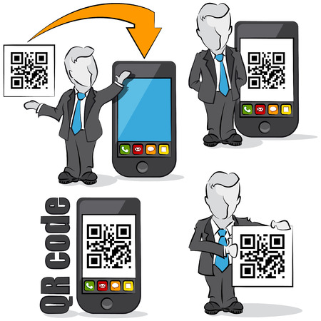 Businessman with QR code for mobile devices  4 cartoons