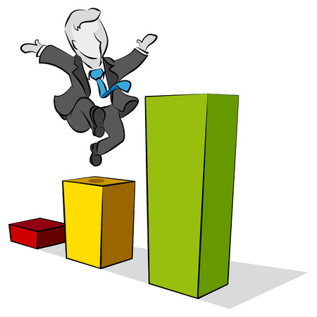 Businessman is climbing a chart statistical