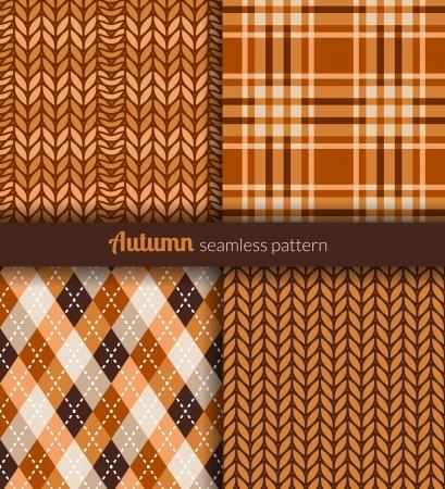 Autumn seamless patterns  Orange and brown fabric  Ilustração