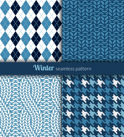 Winter seamless patterns  Blue and white fabric  Иллюстрация