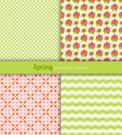 Spring seamless patterns  Green, pink and yellow fabric  Vector