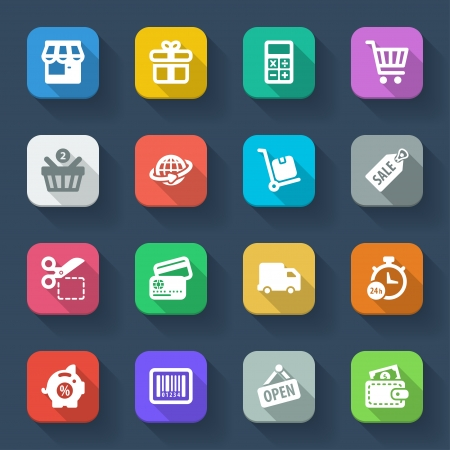 Set of flat icons about shopping in a square with long shadow Vector