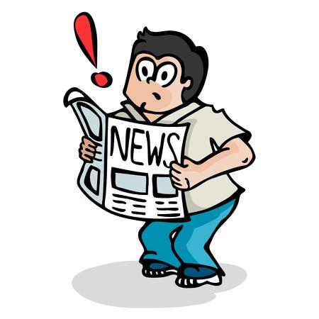 Cartoon of a boy reading a newspaper with exclamation Ilustração