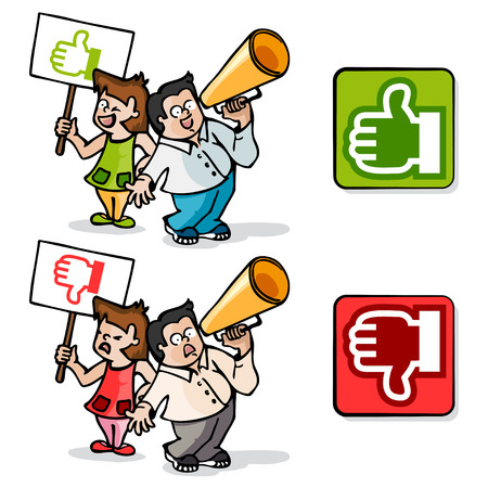 polls: Cartoons about agreement and disagreement concept. Icons for electronic polls Illustration