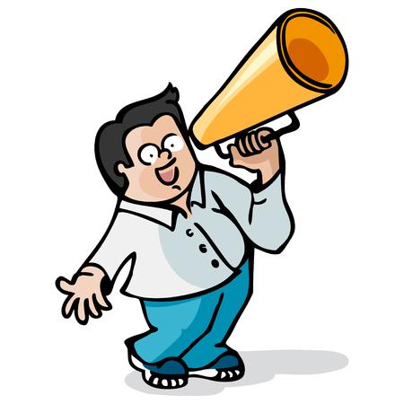 publicist: Cartoon character. Boy with a megaphone
