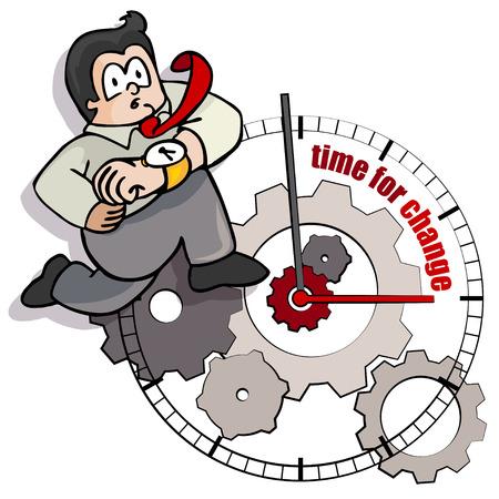 competitividad: Una caricatura de negocios se está ejecutando hacia el cambio en el tiempo.