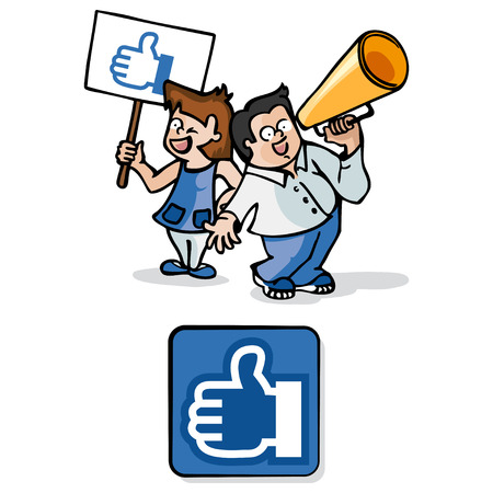 social networks: A girl with a sign like and a boy with a megaphone are representing the concept of social networks