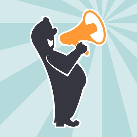 communication cartoon: Cartoon with megaphone. Advertising concept. Communication