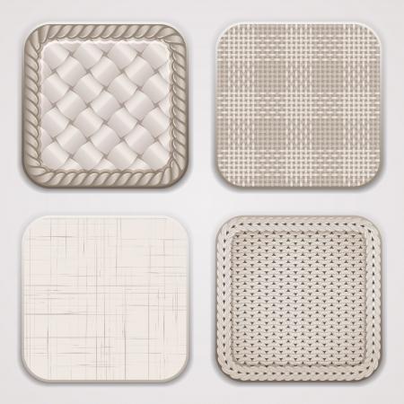 tela algodon: Antecedentes para aplicaciones. Texturas orgánicas en formas redondas cuadrados