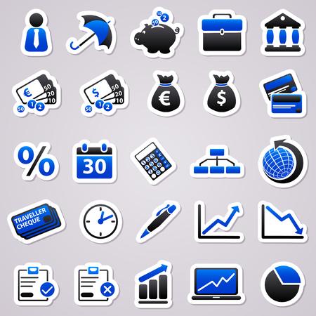 pensioen: Pictogrammen voor web design. Economische blauwe stickers