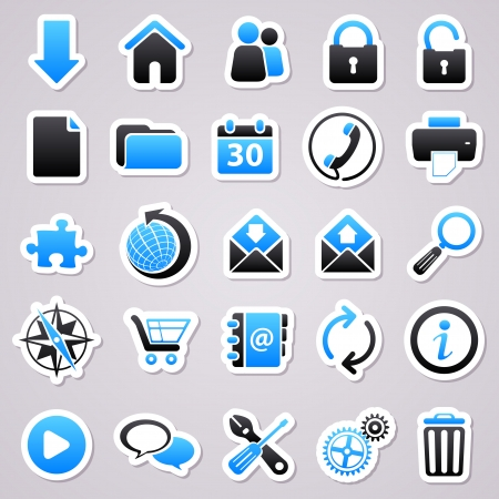 Icons for web design.  Web blue stickers