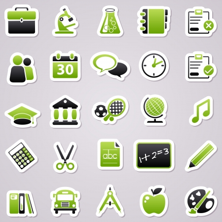 Icons for web design. Green school stickers. Vector