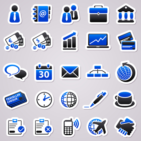 credit crisis: Icons for web design. Blue stickers about business