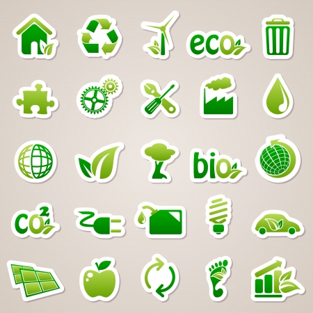 Icons for web design. Stickers about ecology concept. Vector