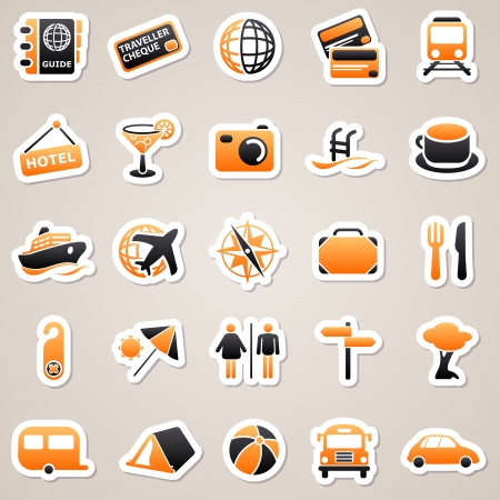 Icons for web design. Set of travel orange stickers. Vector