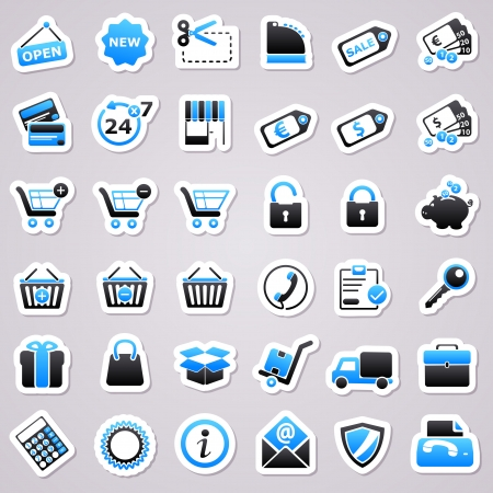 Icons for web design. Shopping blue stickers.