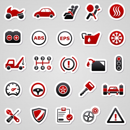 Icons for web design. Automotive red stickers. Vector