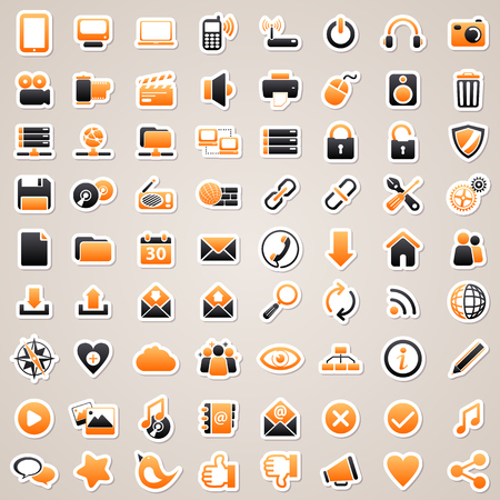 Icons for web design. Orange web and computer stickers.