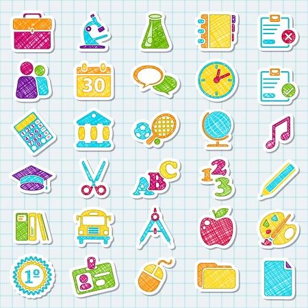 calendario escolar: Pegatinas sobre la universidad. Estilo de color. Conceptos escolares Vectores