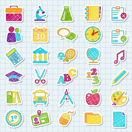 back icon: Stickers about college. Colored style. School concepts Illustration