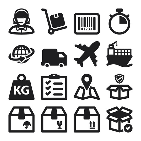 Set of black flat icons about shipping Vector