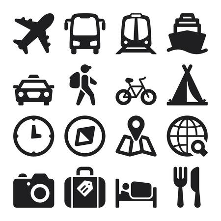 旅行についての黒のフラット アイコンのセット  イラスト・ベクター素材